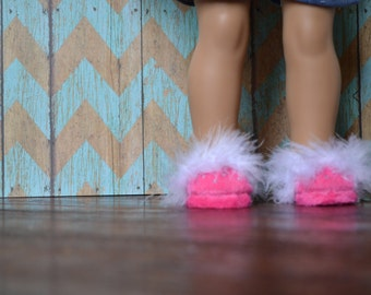 Doll Shoes - Hot Pink Maribou Slippers - fits American Girl Doll
