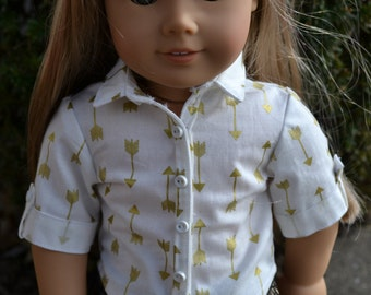18 inch Doll Clothes - Gold Arrows Button Down Shirt - METALLIC GOLD WHITE - fits American Girl