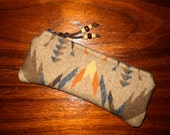 Glasses Case / Tampon Case / Zippered Pouch Earthy Southwestern Geometric Tribal Handcrafted Using Wool from Pendleton Woolen Mills
