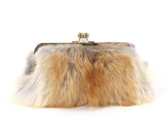 Coyote Fur Clutch ~ Fur Bag ~ Real Coyote Fur Handbag ~ Fur Evening Clutch ~ Red Fur CLutch ~ Grey Fur Purse ~ Fur Crossbody