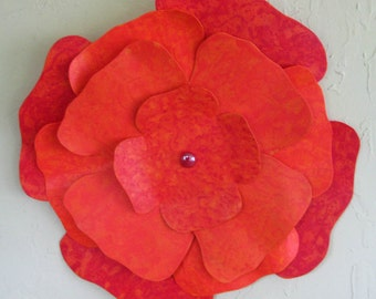 Flower wall art recycled metal sculpture kitchen home decor hibiscus hand painted red orange wall flower 16 inch