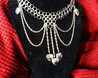Annabelle's Hearts Chainmail Stainless Steel drape Clear Crystal cleavage necklace