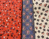 Lot Star Heart Flag Patriotic Fabric Red White Blue Americana Fabric Quilting 4Th of July Fabric Stars 3 Remnants Scraps Lot
