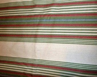 """Sweetwater Stripe Waverly Fabric Sage Green Beige Cranberry Upholstery Weight Fabric Home Decor Fabric 2 Yards x 60"""""""