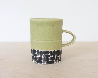 Pinched Mug in Brick Olive Green - Made to Order