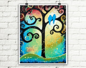 Tree of Life Landscape Wall Art, Love Birds Whimsical Art Print, Romantic Gift for Couple