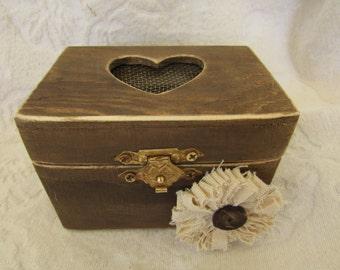 CIJ SALE Boho Rustic Woodland Cottage CHic Wedding Ringbearer Box Muslin Flower