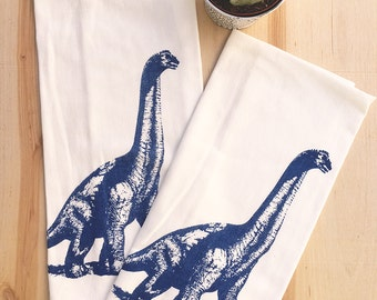 Towel Set of 2 - DINOSAUR - Multi-Purpose Flour Sack Bar Towels - Renewable Natural Cotton Zen Threads