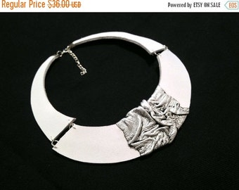 50% OFF SALE White and silver color leather necklace Bib necklace Statement collar Leather jewelry