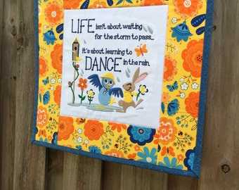 Mini Quilt - Dancing in the Rain / Wall hanging - 16 inches square , inspirational , embroidery, yellow, floral, gift for her, home decor