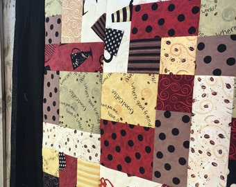 "Unfinished quilt top - lap sized - Have a Latte by Dan Dipaolo Fabrics 52""x 62"" - Coffee themed / modern print / patchwork / ready to quilt"