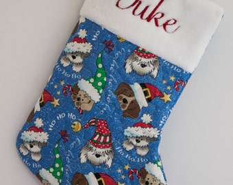 Personalized Christmas Stocking for the Dog - Blue Chistmas Pup Fabric!
