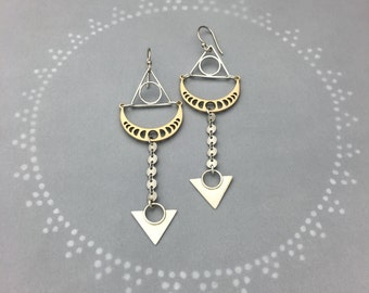 Phases of the Moon Earrings with Geometric Triangles and Silver Disk Chain