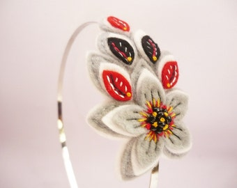 Wool felt flower headband in black gray red and white
