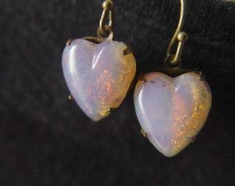 Vintage Harlequin Opal Glass Heart Earrings