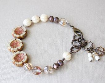 Flower hand knotted bracelet, Czech glass beaded bracelet, Golden neutral colors, Bohemian style, stacking bracelet