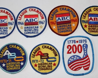 SALE! Vintage Box Lot of American Bowling Congress unused Bowling Patches from mid-1960's