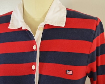 Vintage RALPH LAUREN POLO ladies rugby polo shirt size small 1980's