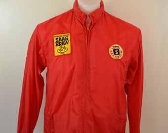 Vintage Nylon CYCLING Jacket SAAGBRAW Milwaukee Sentinel patches 1980's medium