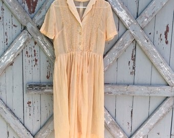1950s peach gauze day dress dress M L XL