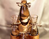 Sand Ceremony Set With Wood Base, Glass Vase and Glass Flasks