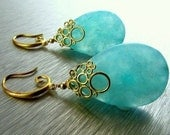 BIGGEST SALE EVER Aqua Blue Agate Bubble Earrings