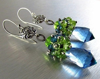 End Of Summer Sale London Blue Quartz, London Blue Topaz and Peridot and Vesuvianite Cluster Sterling Silver Earrings