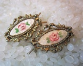 Vintage barrettes  matching pair sweet tiny barrettes, antique gold ornate, rose  Guilloche