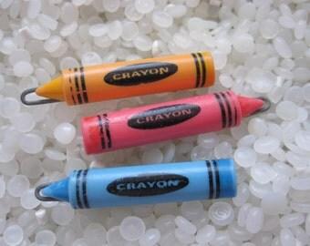Vintage barrette,  orange , pink and blue crayons
