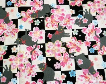 Beautiful Kimono Fabric - Black Cat Sakura on Black - Half Yard (re160610)