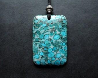 Pendant - Fossil Cowry - geometric, modern, blue, aquatic, adjustable pendant, art to wear- by Schneider Gallery