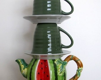 Vintage Teapot Lamp, Teacup Lamp, Green Table Lamp