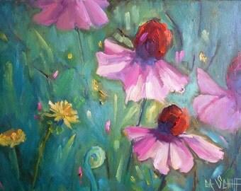 "Impressionist Floral Landscape Painting, Coneflower, dandelions, 12x16"" Original Oil,  Flower Painting"