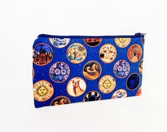 Sun and Stars Pouch, Medium Zipper Pouch, Coin Purse, Cosmetic Pouch, Pouch, Fabric Pouch, Gift for Her, Fabric Zipper Pouch, Liberty Pouch