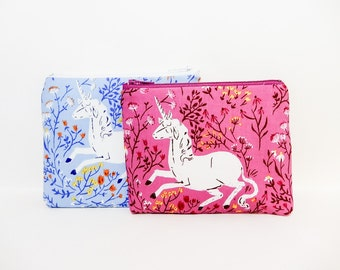 Unicorn Pouch, Pink or Blue Pouch, Zipper Pouch, Cosmetic Pouch, Fabric Pouch, Pouch, Gift Under 20, Gift for Her, Unicorns PInk or Blue