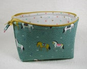 Open Wide Flat Bottom Zipper Pouch... Cotton and Steel.. Horseback in Green