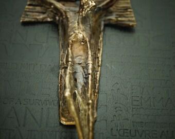 Franciscan Tau Cross TAU  Beautiful Sculpture  Powerful Crucifixion of Jesus Christ Christianity Cross solid Bronze heavy