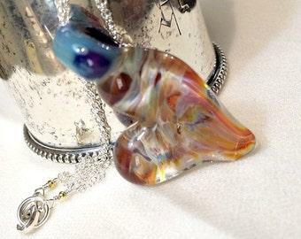 50% OFF SALE Heart Pendant Lampwork Boro Glass Wire Wrap Gemstone Dangle Necklace Rainbow Colors Freeform Glass Heart Necklace