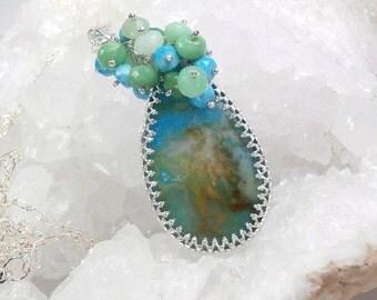 50% OFF SALE Plume Agate Long Layering Necklace Turquoise Chrysoprase Necklace  Bezel Set Gemstone Cluster Necklace Colorful Gemstone Pendan