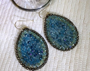 50% SALE Blue Green Earrings Statement Hoop Earrings Large Hoop Earrings Blue Green Crystal Boho Earrings Resort Hoop Jewelry