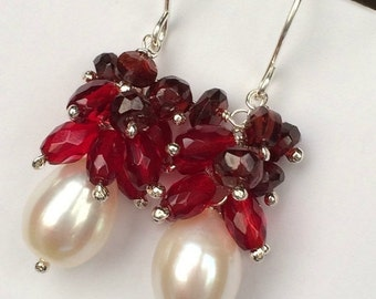 CUPID SALE Red Cluster Pearl Earrings Sterling Silver Ivory Freshwater Pearl Earring Red Quartz Red Garnet Cluster Wire Wrap Earrings Valent