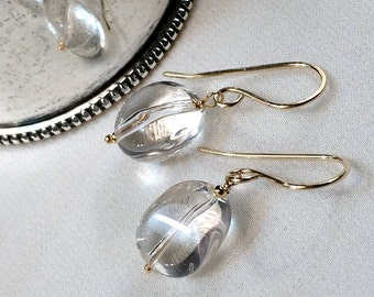Clear Quartz Dangle Earrings Wire Wrap Clear Nugget Drop Simple Everyday Earrings 14kt Gold Fill Reflective Smooth Orbs White Quartz
