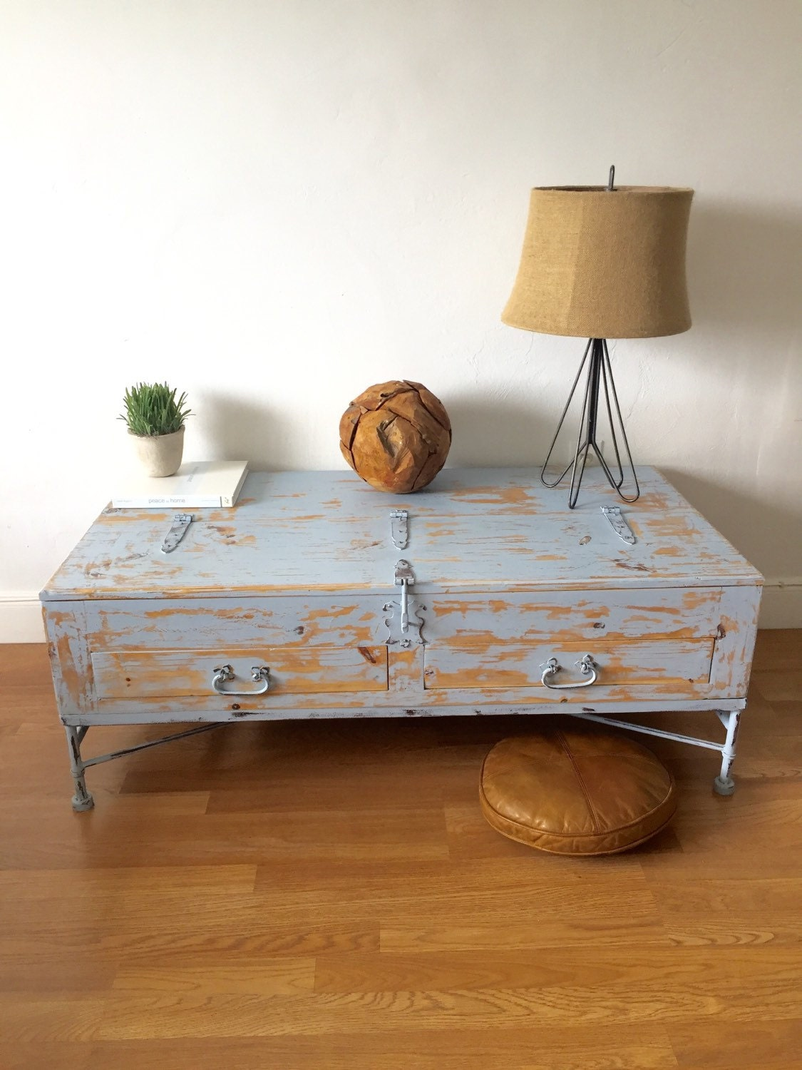 Coastal Living Rustic Shabby Chic Hand Painted Cedar Wood Trunk Coffee Table Haute Juice