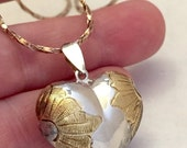 Closing Sale Vintage Sterling Puffy Heart Charm Pendant with Gold Wash Chased Engraved Flowers on Italy Italian Sterling Chain