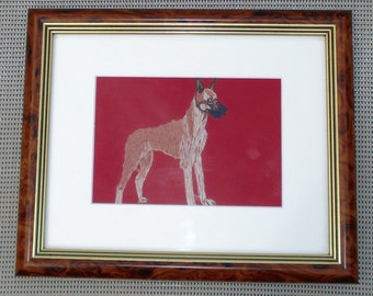 Great Dane Dog Portrait, Standing, Hand Embroidered
