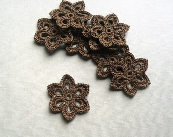 8 Crochet Flower Appliques -- 2 inch Diameter, in Chocolate Brown