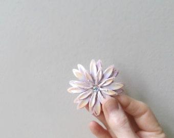iridescent pink enamel flower brooch rhinestone center daisy pin