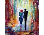 Romance Painting Oil Painting on Canvas Morning Walk by Luiza Vizoli