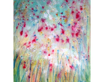 FLOWERS Original Painting MIST Abstract Acrylic Art on Canvas by Luiza Vizoli