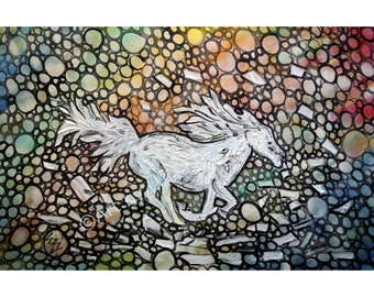 Animal Art Horse Painting ORIGINAL Modern Animal Art Contemporary Wall Decor on canvas from Luiza Vizoli ready to hang 36